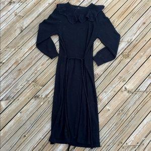 VINTAGE 70s Black Knit and Lace Dress